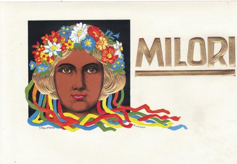 HI1057  INNER CIGARBOX JUGENDSTILL MILORI, GOLDED HAIRED WOMAN EMBOSSED