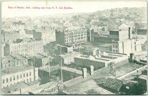 1910s Omaha, Nebraska Postcard Bird's-Eye City View East from NY Life Building