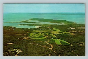 Cape Cod MA-Massachusetts, Aerial View, Golf Club, Chrome Postcard
