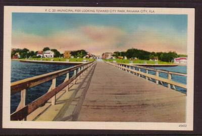 Florida colour PC Municipal Pier Panama City looking towards Park, unused