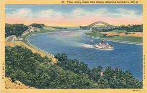 Steamer on Cape Cod Canal near Sagamore Bridge MA Cape Cod Massachusetts - Linen