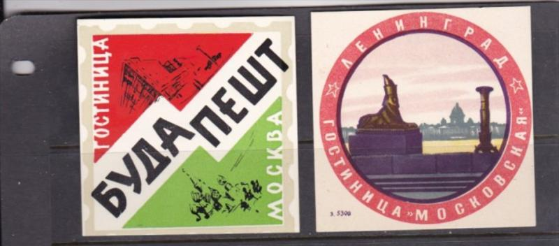 Russia 10 Different Original Vintage Luggage Labels Free Worldwide Shipping
