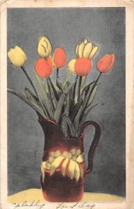 Gelukkig Feestdag Tulips vase, flowers, fleurs 1939