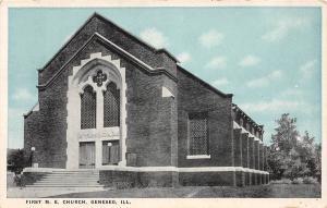 C16/ Geneseo Illinois Il Postcard 1943 First M.E. Church Building