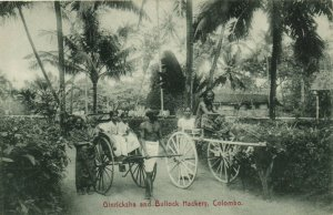 PC CPA SRI LANKA, CEYLON, GINRICKSHAW AND BULLOCK HACKERY, Postcard (b13654)