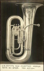 Music Instrument Advertising CG Conn New Invention Eb Bass RPPC c1910 xst