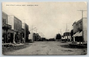 Sunfield Michigan~Main Street West~AB Gibbs: Arrow to Bank~c1910 B&W Postcard