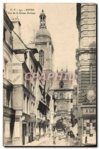Postcard Old Clock Rouen Street Grosse clock