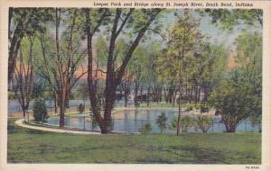 Indiana South Bend Leeper Park And Bridge Along Saint Joseph River