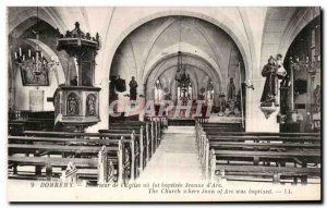 Old Postcard Domremy Interior of church I was baptized or Joan of Arc