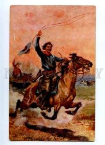 157125 USA Cowboy HORSE Throwing lasso by PAYNE vintage PC