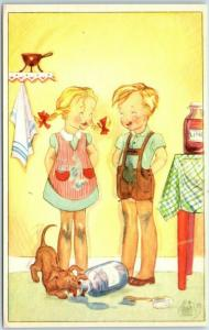 Vintage SWEDISH Greetings Postcard Boy Girl Puppy Dog / Jar of Jam - Unused