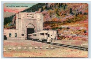 1948 Moffat Tunnel Colorado Postcard Train Railraod Linen