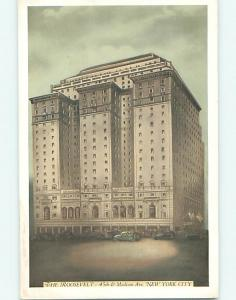 Unused 1930's OLD CARS & ROOSEVELT HOTEL Manhattan New York NY Q6624