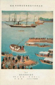 Artist impression Boat Flotilla Art Sailing Ship 1920s Postcard 20-11272
