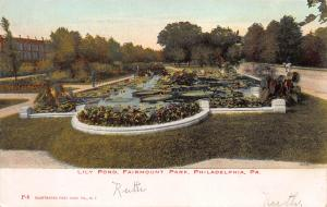 Lily Pond, Fairmont Park, Philadelphia, PA, Early Postcard, Used in 1906