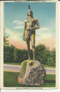 Plymouth, Mass., Massasoit Statue, Indian Friend To The Pilgrims