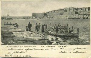 malta, VALLETTA, Grand Harbour and Marina (1904) Postcard