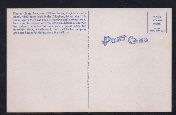 Virginia postcard Fairy Stone State Park Southeastern Virginia unused