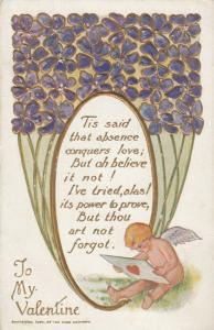 VALENTINE'S, 00-10s: To My Valentine, Cupid reading a letter, embossed flowers
