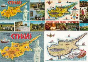 Greetings From Cyprus 4x 1980s Map Postcard s