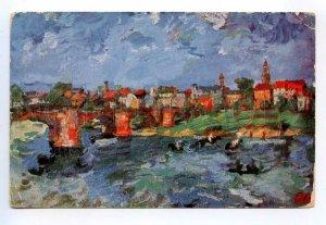 431685 Oskar KOKOSCHKA Elblandschaft Elbe Bridge expressionism Vintage postcard
