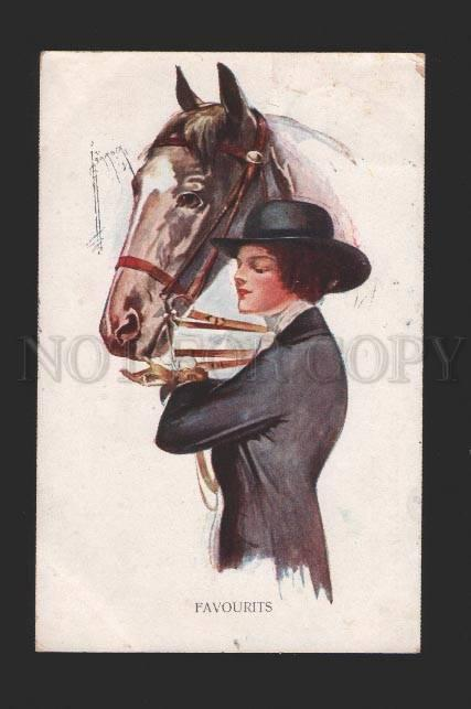 078585 Lady w/ Head of HORSE by BARBER vintage Color PC