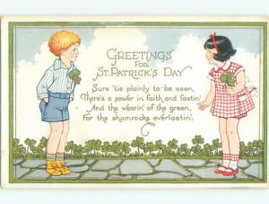 Unused Pre-Linen st. patrick GIRL AND BOY BOTH WEAR SHAMROCKS ON CLOTHING J3917