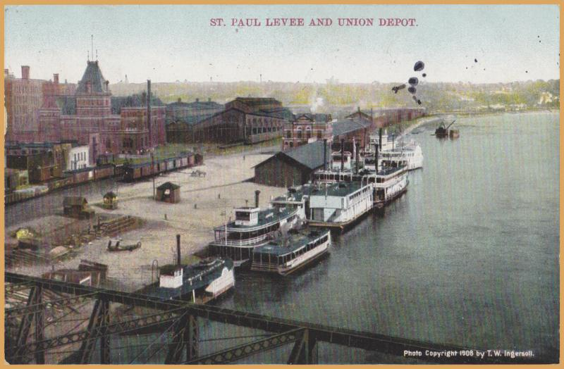 St. Paul Minn., Levee and Union Station, River barges and trains - 1909