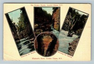 Ausable Chasm NY-New York, Broken Needle, Elephant's Head, Vintage Postcard