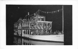 Paddlewheel Robert E Lee Decorated For Christmas @ Night~Postcard RPPC c1956