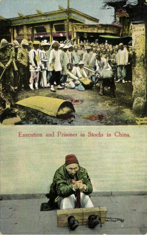 china, Native Chinese Execution, Beheading, Prisoner in Stocks (1910s)