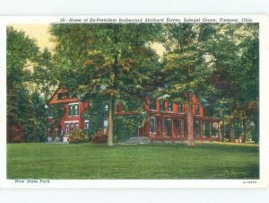 Unused Linen PRESIDENT RUTHERFORD HAYES HOME Ohio OH c7856