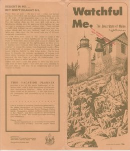 Maine Lighthouses Vintage Brochure, Watchful Me. Detailed Lighthouse Information