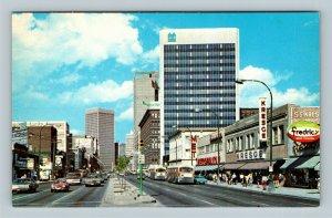 Winnipeg MB, View Of Portage Avenue, Chrome Manitoba Canada Postcard