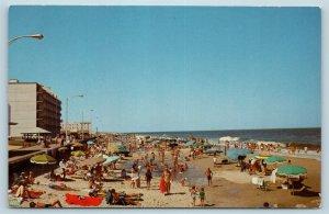 Postcard DE Rehoboth Beach c1960s Beach Bathers Hotels Boardwalk M04