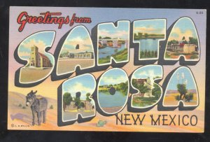 GREETINGS FROM SANTA ROSA NEW MEXICO VINTAGE LARGE LETTER LINEN POSTCARD