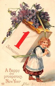 New Years Post Card A Happy and Prosperous New Year Child & Flowers 1909