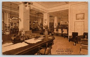 San Francisco CA~Manx Hotel Lobby~Clerks at Desk~Cigar Counter~Bell Hop~1913