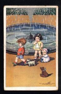 035357 TENNIS Boy & TEDDY BEAR. By CASTELLI vintage
