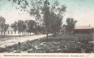 LP07  Hagerman  New Mexico Postcard Winchester Ave School Baptist Church