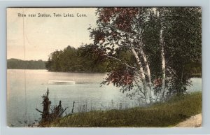 Twin Lakes CT-Connecticut, Scenic Lake View Near Station, Vintage c1910 Postcard