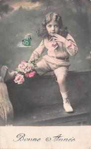 New Year, Bonne Annee, roses, fleurs, flowers, girl, fillette 1913