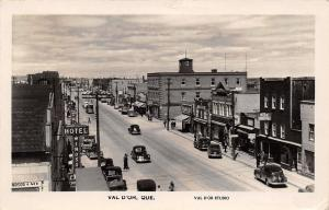 Val D'or Quebec~Main Street~Windsor Hotel Cafe~Bank~Meyer Rexall~1940s Cars~RPPC