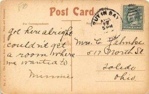 LP07   Put In Bay Ohio Postcard  Postal Shop Along Pike  Oelschlager Hotel