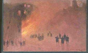 pc9221 postcard San Francisco Behrendt Publisher Fire Scene UDB MOBSC Firemen