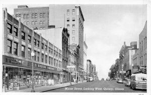 Quincy Illinois~Maine Street~SS Kresge 5 and 10~Sears~1930s Cars~1941 B&W PC