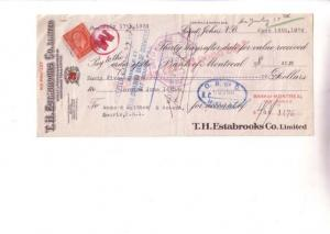 1934 Estabrooks, Red Rose Tea, Cheque w Stamp, Saint John '3