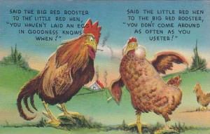 Comics, Big Red Rooster & Little Red Hen Smoking & Discussing About Eggs, PU-...