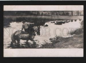 077794 Rural man on HORSE by ANDRE MARCHAND vintage PC